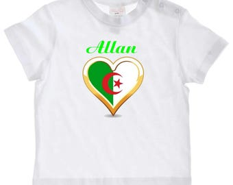 Algeria baby personalized with name t-shirt