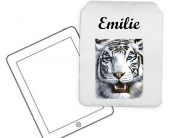 Cover for tablet pc White Tiger personalized with name