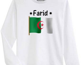 T-shirt boy Algeria long sleeve personalized with name
