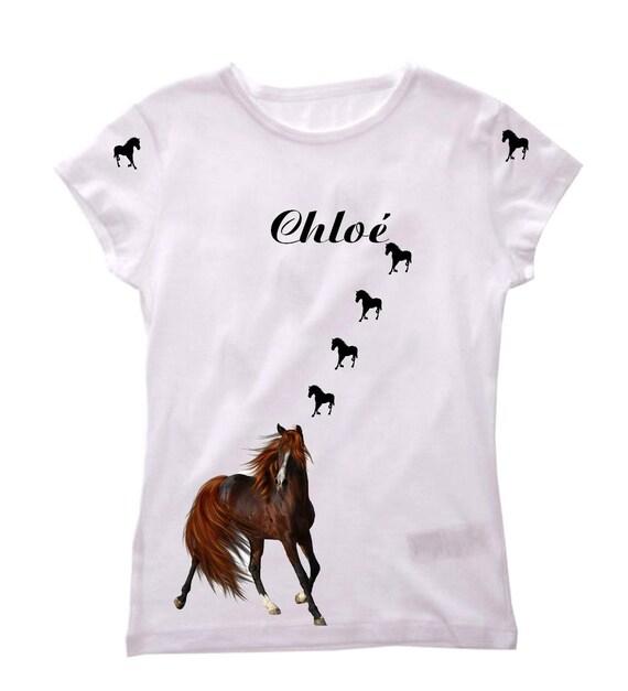 Tee shirt fille cheval personnalis avec pr nom - Tee shirt avec photo personnalise ...