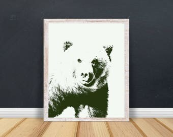 Bear Print, Instant Download, Downloadable Art, Woodland Nursery Decor, Nursery Printable Art, Nursery Prints, Instant Download Prints