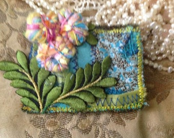 Textile art brooch, lined, handmade