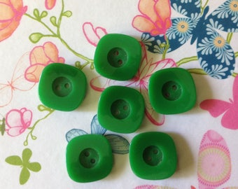 Set of six vintage green buttons