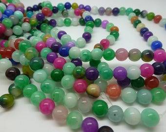 Mix 12 pearls tinted jade 8mm round and smooth - random colors (USPJ10)