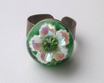 Ring: iridescent Pearl Nature flower