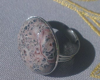 Leopard skin Jasper gemstone ring