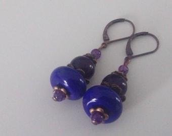 Lavender - Purple, copper earrings