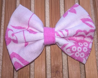 Hair bow - floral pink and white