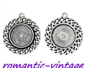 16mm; 2 silver plated antique effect chain bracelet 16mm cabochon decor