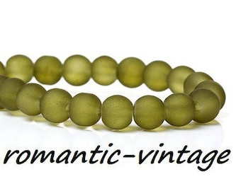 army green frosted matte glass 6mm 20 beads