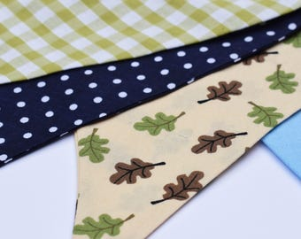 Bunting flags 3M nature leaf prints with polka dots and gingham