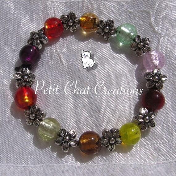 Bracelet sur fil lastique poignet 15 17cm perles lampwork - Fil elastique pour bracelet ...