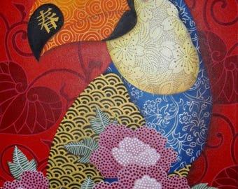 "BIRDS - Acrylic painting on canvas ""déco ultra Toucan"""