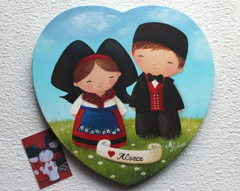Acrylic painting on canvas in the shape of heart: Love Alsace (Alsatian couple)