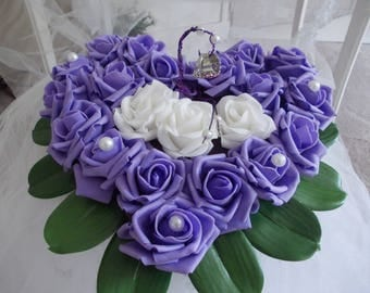 Purple and white heart ring bearer pillow
