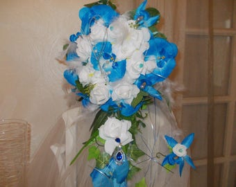 Blue and white with orchids and roses wedding bridal bouquet