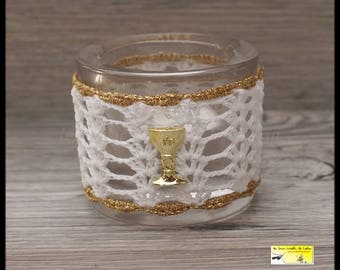 """3 candle holders-lanterns """"chalice"""" for communion white, gold with Golden Chalice"""