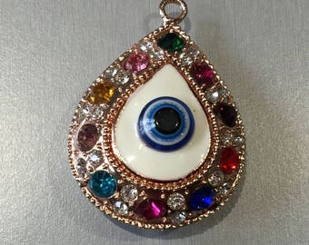multicolored rhinestone drop pendant