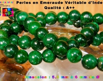 12 pearls round genuine Emerald India 5.5 mm to 6 mm - 1