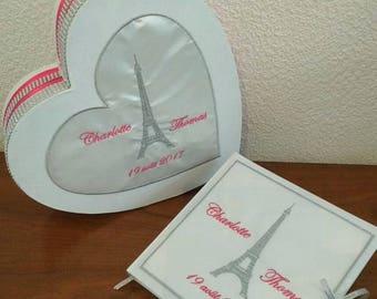 Money box / urn / pot for heart or guest book wedding / Paris themed / eiffel tower
