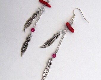 Feather earring silver, coral, Swarovski and charm
