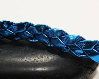 1 m cord braided leather effect blue electric 8mm