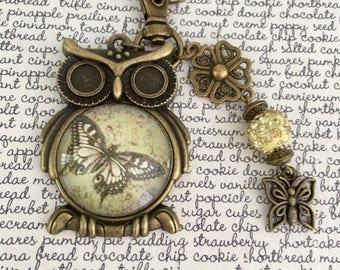Butterfly Retro OWL bag charm