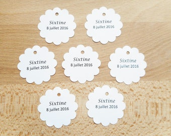 Mariage & Baptême - Lot 20 Etiquettes / marques places - rond festonné - étiquette fantaisie - blanc bleu rose orange jaune vert
