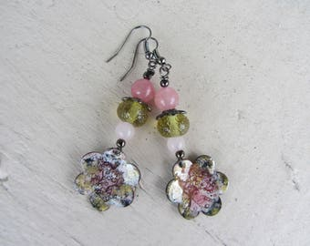 Dangling earrings with flower enameled copper, gemstones and glass beads handmade in pink, yellow and black