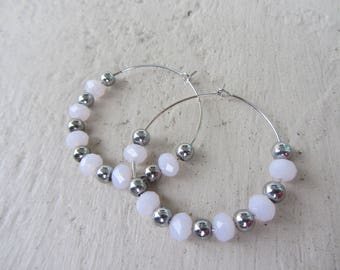 Bohemian chic earrings with fine silver metal elegant, faceted glass beads hoop pale pink and silver beads