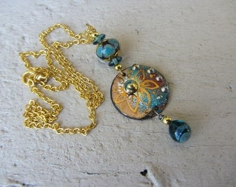 ethnic copper pendant necklace handcrafted, turquoise and gold glass and enamel