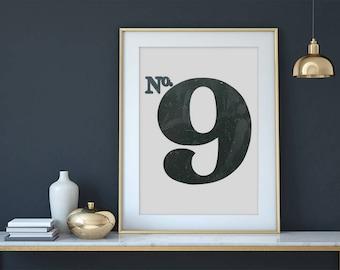 Printable Art, Number Print, Number Art, Bold Poster, Modern Art, Black and White, Home Decor, Customizable