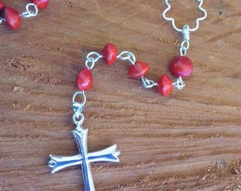 Silver plated Rosary seeds in the Church where réglise / seed tropical /Chapelet Catholic