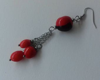 Seeds of caconnier on stainless steel earrings
