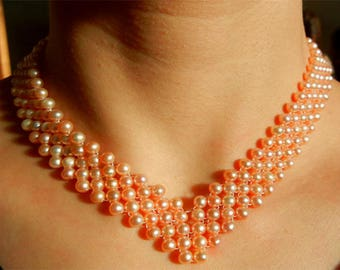 Pearl Necklace with cultured fresh water 5 rows custom crew neck color Rose