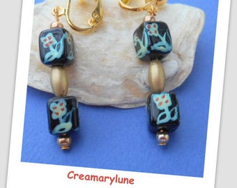 For non pierced clip earrings painted glass beads manually black