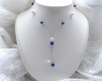 Wedding necklace white blue beaded dark roy - Romantica Collection - Cathia - wedding jewelry wedding, bridal, bride, wedding necklace