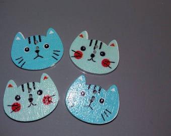 Set of 4 blue wooden cat buttons