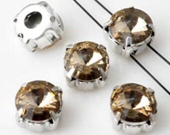 18 Séparateurs de métal avec verre cristal champagne avec 2 trous 8x6 mm