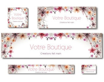 Etsy and Facebook - flowers watercolor shop banner banners