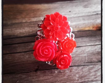 Red flower cabochon silver ring