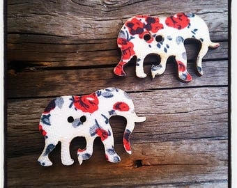 set of 2 buttons elephant floral fabric, red, covered wooden 30 mm