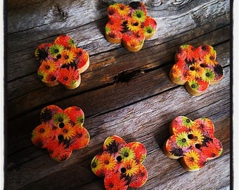 wood set of 6 buttons: flower pattern flowers multicolor 17mm