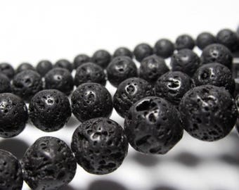 5 beads 12 mm black lava stone