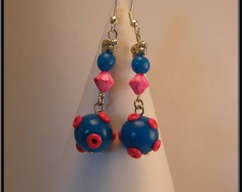 Blue planet and Fuchsia polymer clay bead earrings.
