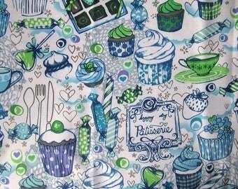 "Pastel PVC coated fabric * waterproof * blue ""GLUTTONY"" trendy pattern"