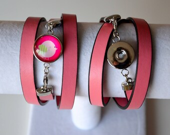 OLD leather BRACELET snap CHUNK pink