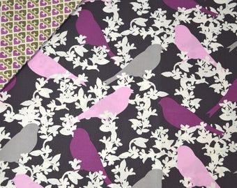 """Birds"" - VERA BRADLEY purple cotton fabric"