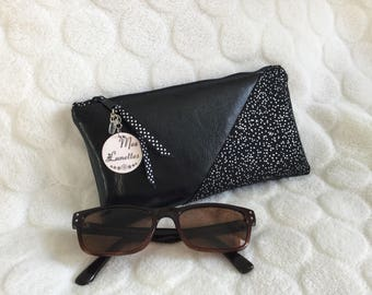 Glasses case in black faux leather and silver speckled fabric