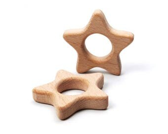 Wooden teething ring (or for breastfeeding necklaces) - star shape